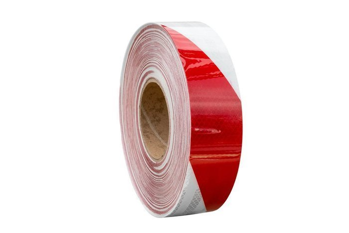 Reflecterende Contour Tape Rood-Wit - rol 45 m.
